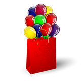 Colorful balloons in a bag Stock Photography