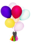 Colorful balloons, bags and heart, copy space Royalty Free Stock Image