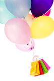 Colorful balloons, bags, shopping Stock Images