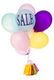 Colorful balloons, bags and text sale Stock Image