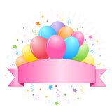 Colorful balloons banner. Illustration of colorful balloons and confetti with a cute pink empty banner to add your own text Stock Photography