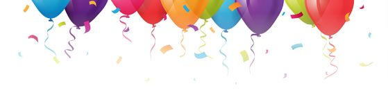 Colorful balloons banner with confetti on top of a white background. Illustration of Colorful balloons banner with confetti on top of a white background Stock Photos