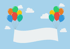 Colorful balloons with banner Royalty Free Stock Photography