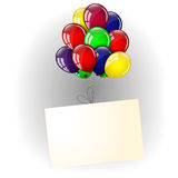 Colorful balloons and banner. On a white background Royalty Free Stock Images