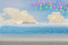 Colorful balloons on the beach, blue sky and islands. royalty free stock photo