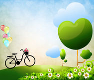 Colorful balloons bike. And flower Royalty Free Stock Photo
