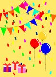 Colorful balloons and birthday party theme. Illustration vector of birthday card. Colorful balloons and birthday party theme Royalty Free Stock Photo