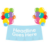 Colorful Balloons With Blank Banner. Illustration Royalty Free Stock Photos