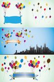 Colorful balloons, blank banners and ribbons. Royalty Free Stock Images