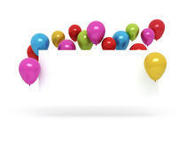 Colorful balloons and blank birthday card. With shadow on white background Royalty Free Stock Images
