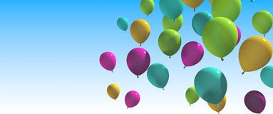 Colorful balloons with blue Background. Multicolored balloons Stock Images