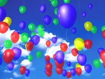Colorful balloons in blue sky Stock Photo