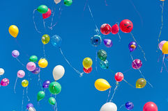 Colorful balloons on  blue sky background Royalty Free Stock Images