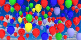 Colorful balloons on blue sky background. 3d illustration. Group of colorful party balloons on blue sky background. 3d illustration Royalty Free Stock Images