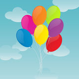 Colorful Balloons on Blue Sky Background. Balloons for your party and celebration Stock Photography