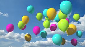 Colorful balloons with blue sky. Multicolored balloons Stock Photo