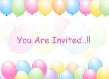Colorful Balloons border / Party frame Stock Photos