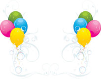 Colorful balloons and bubbles. Festive composition. Colorful balloons with floral ornament and bubbles. Festive composition. Illustration Royalty Free Stock Images