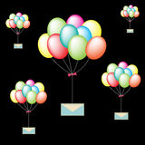 Colorful balloons are carrying the mail. On black color background Royalty Free Illustration