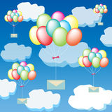 Colorful balloons are carrying the mail Stock Images