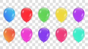 Colorful Balloons collection. Holiday illustration of flying glo. Ssy balloons.  Vector Illustration Royalty Free Stock Photography