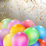 Colorful Balloons with confetti. EPS 10 Royalty Free Stock Photo