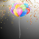Colorful Balloons with confetti. EPS 10. Colorful holiday background with balloons and confetti. Shallow Dof. EPS 10 vector file included Stock Photography