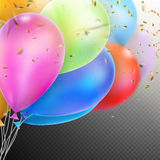 Colorful Balloons with confetti. EPS 10. Colorful holiday background with balloons and confetti. Shallow Dof. EPS 10 vector file included Royalty Free Stock Photo