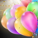 Colorful Balloons with confetti. EPS 10. Colorful holiday background with balloons and confetti. Shallow Dof. EPS 10 vector file included Stock Photos