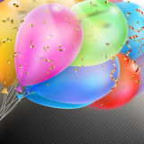 Colorful Balloons with confetti. EPS 10. Colorful holiday background with balloons and confetti. Shallow Dof. EPS 10 vector file included Royalty Free Stock Images
