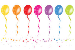 Colorful balloons with confetti vector Stock Photography