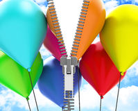 The colorful balloons. 3d generated picture of some colorful balloons and a fastener Stock Image