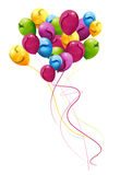 Colorful balloons, decorated with cheerful bouquet Royalty Free Stock Photos
