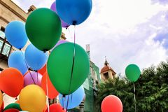 Colorful balloons decorating the town hall for the Gay Pride Day in Elche stock photography