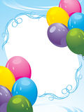 Colorful balloons decorative frame. Festive card Royalty Free Stock Photo