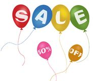 Colorful balloons and discount sale Royalty Free Stock Photos