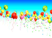 Colorful balloons dividing the sky for headline and copy space Royalty Free Stock Photo