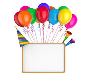 Colorful Balloons with Empty Board Stock Images