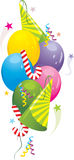 Colorful balloons and festive tinsel. Illustration Stock Photography