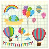 Colorful balloons and flags on grid background. Illustration Stock Photography