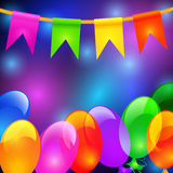 Colorful balloons and flags. Holiday background with inflatable colorful balloons and flags Stock Image