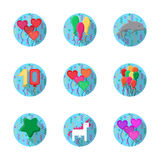 Colorful balloons flat icons collection Stock Photo