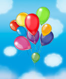 Balloons kids. Colorful balloons in flight. Digital illustration for art, print, web and more royalty free illustration