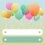 Colorful balloons floating. Festive card with colorful balloons floating and copyspace for your text Royalty Free Stock Photo
