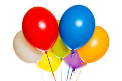 Colorful balloons. Colorful floating balloons isolated on white background. Celebration or Birthday party balloons stock images