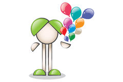 Colorful balloons fly. Line character Stock Image