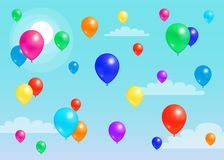 Colorful Balloons Flying Blue Sky, Rubber Balloon. Colorful balloons flying in blue sky, rubber balloon with helium among clouds in endless skyline vector Stock Photos