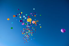 Colorful Balloons flying in the sky party Stock Photography