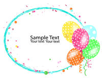 Colorful balloons frame with confetti vector Royalty Free Stock Image