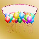Colorful balloons and frame. On golden background Royalty Free Stock Image